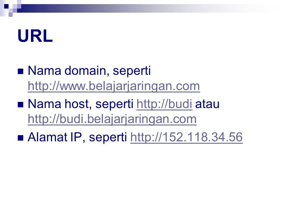 URL Nama domain, seperti http://www.belajarjaringan.com http://www.belajarjaringan.com Nama host, seperti http://budi atau http://budi.belajarjaringan.comhttp://budi http://budi.belajarjaringan.com Alamat IP, seperti http://152.118.34.56http://152.118.34.56