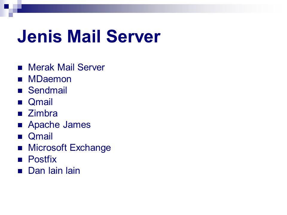 Jenis Mail Server Merak Mail Server MDaemon Sendmail Qmail Zimbra Apache James Qmail Microsoft Exchange Postfix Dan lain lain
