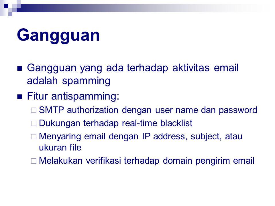 Gangguan Gangguan yang ada terhadap aktivitas email adalah spamming Fitur antispamming:  SMTP authorization dengan user name dan password  Dukungan terhadap real-time blacklist  Menyaring email dengan IP address, subject, atau ukuran file  Melakukan verifikasi terhadap domain pengirim email