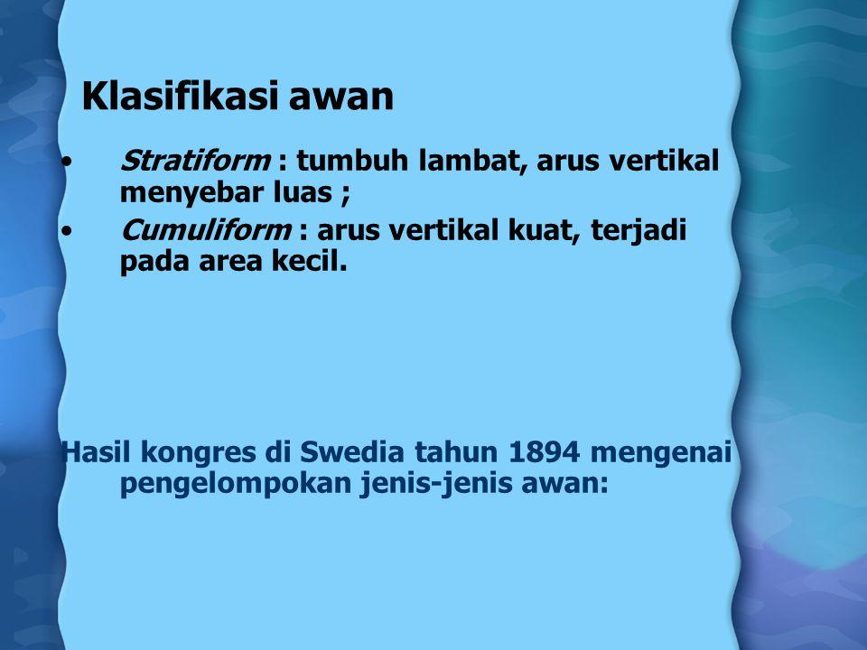 Klasifikasi awan Stratiform : tumbuh lambat, arus vertikal menyebar luas ; Cumuliform : arus vertikal kuat, terjadi pada area kecil. Hasil kongres di