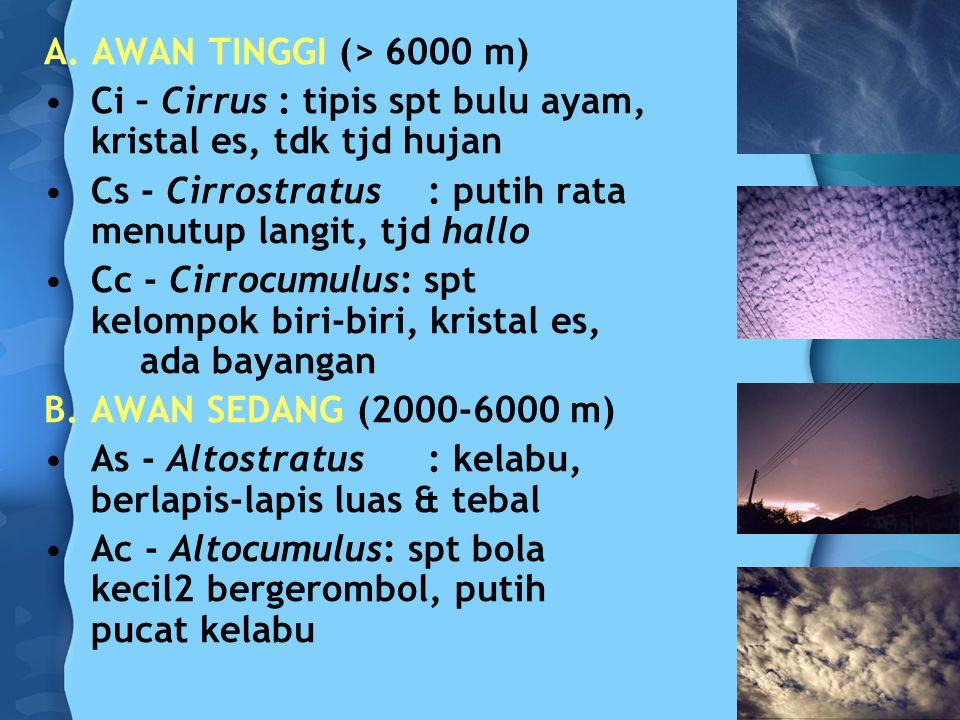 A. AWAN TINGGI (> 6000 m) Ci – Cirrus : tipis spt bulu ayam, kristal es, tdk tjd hujan Cs - Cirrostratus: putih rata menutup langit, tjd hallo Cc - Ci