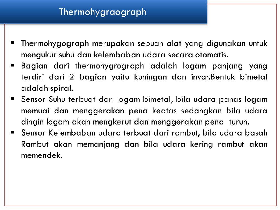  Thermohygograph merupakan sebuah alat yang digunakan untuk mengukur suhu dan kelembaban udara secara otomatis.  Bagian dari thermohygrograph adalah