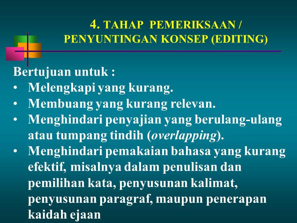 4. TAHAP PEMERIKSAAN / PENYUNTINGAN KONSEP (EDITING) Bertujuan untuk : Melengkapi yang kurang. Membuang yang kurang relevan. Menghindari penyajian yan