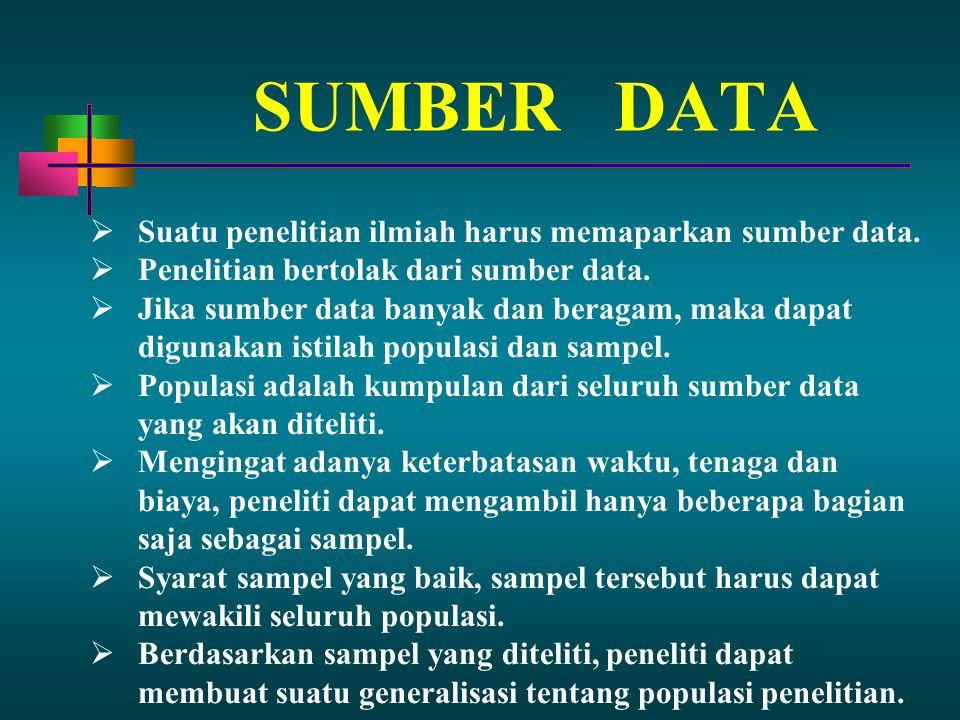 SUMBER DATA  Suatu penelitian ilmiah harus memaparkan sumber data.  Penelitian bertolak dari sumber data.  Jika sumber data banyak dan beragam, mak