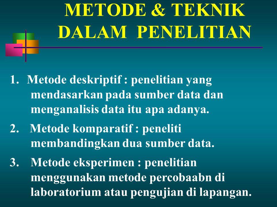 METODE & TEKNIK DALAM PENELITIAN 1. Metode deskriptif : penelitian yang mendasarkan pada sumber data dan menganalisis data itu apa adanya. 2. Metode k
