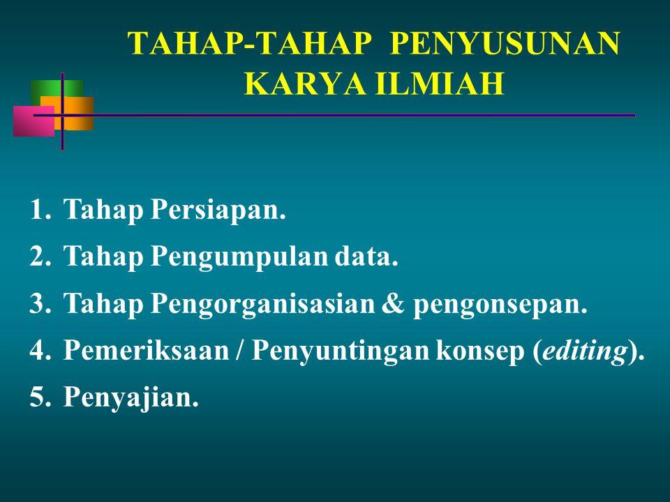 TAHAP-TAHAP PENYUSUNAN KARYA ILMIAH 1.Tahap Persiapan. 2.Tahap Pengumpulan data. 3.Tahap Pengorganisasian & pengonsepan. 4.Pemeriksaan / Penyuntingan