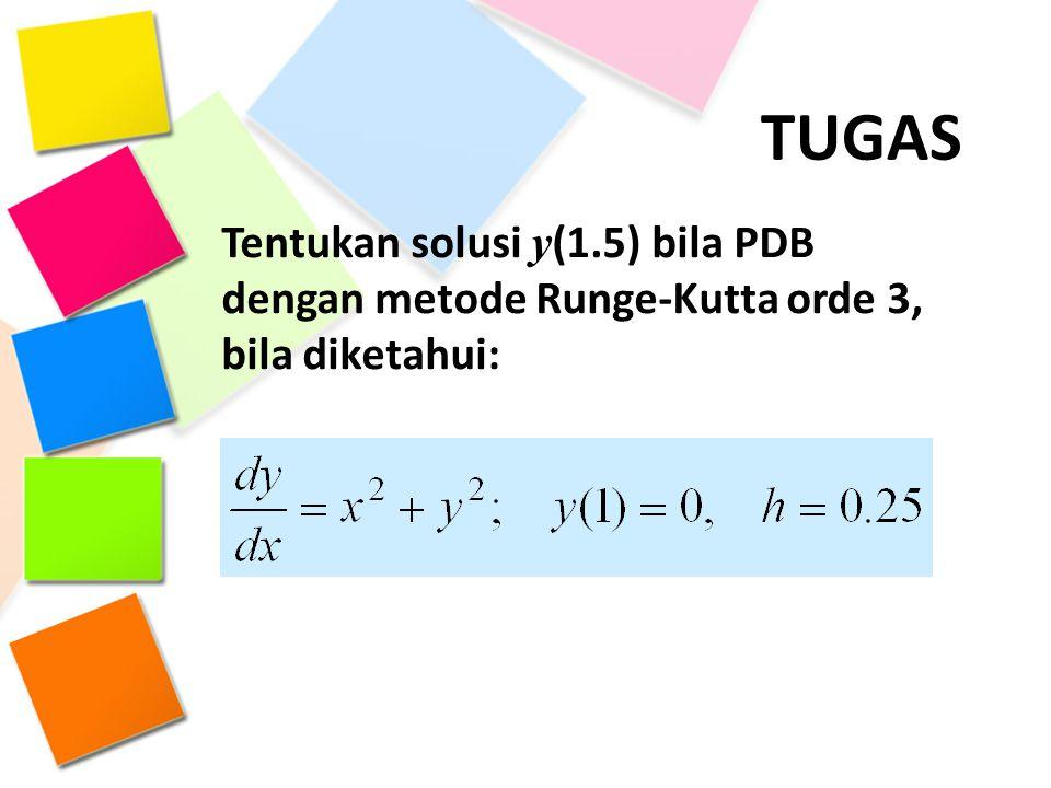 TUGAS Tentukan solusi y (1.5) bila PDB dengan metode Runge-Kutta orde 3, bila diketahui: