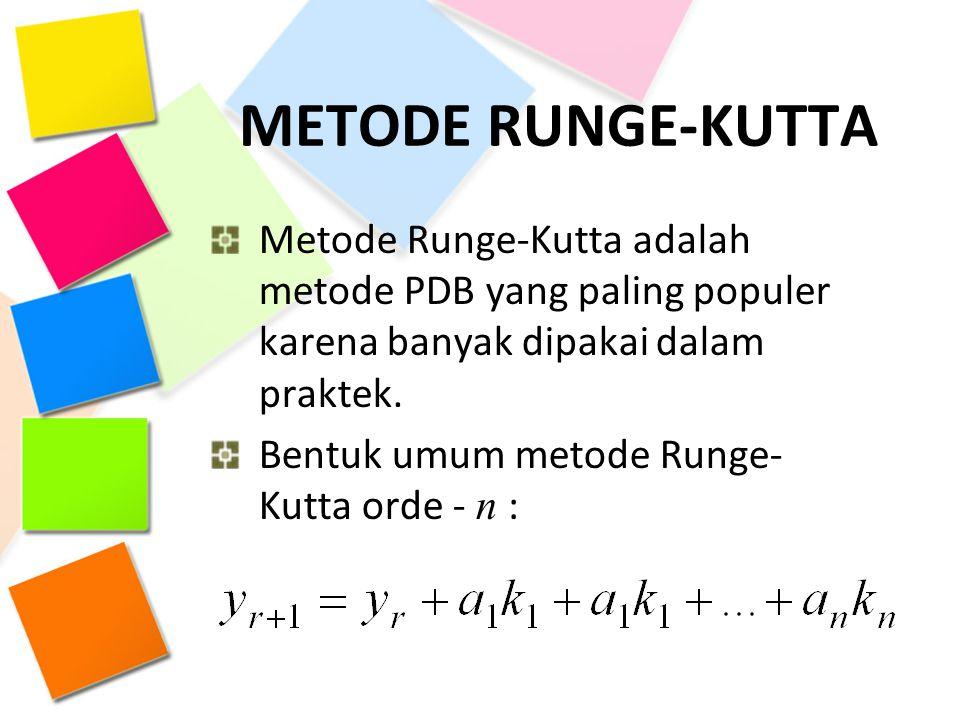 METODE RUNGE-KUTTA Metode Runge-Kutta adalah metode PDB yang paling populer karena banyak dipakai dalam praktek. Bentuk umum metode Runge- Kutta orde