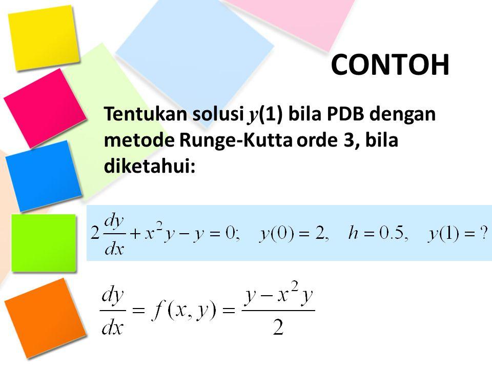 CONTOH Tentukan solusi y (1) bila PDB dengan metode Runge-Kutta orde 3, bila diketahui: