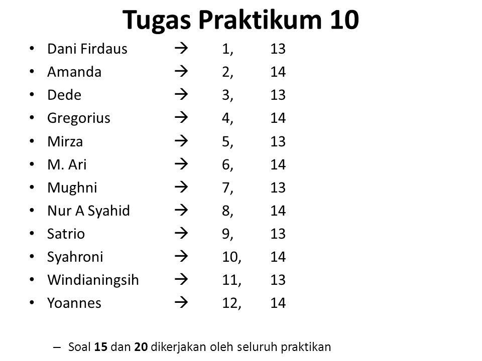 Tugas Praktikum 10 Dani Firdaus  1,13 Amanda  2,14 Dede  3,13 Gregorius  4, 14 Mirza  5,13 M. Ari  6,14 Mughni  7, 13 Nur A Syahid  8,14 Satri