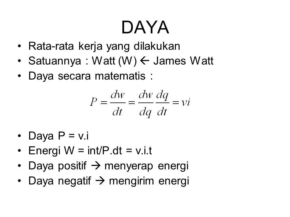 Mengirim energi  Jika arus positif masuk ke terminal negatif atau meninggalkan terminal positif elemen tersebut. Menyerap energi  Jika arus positif