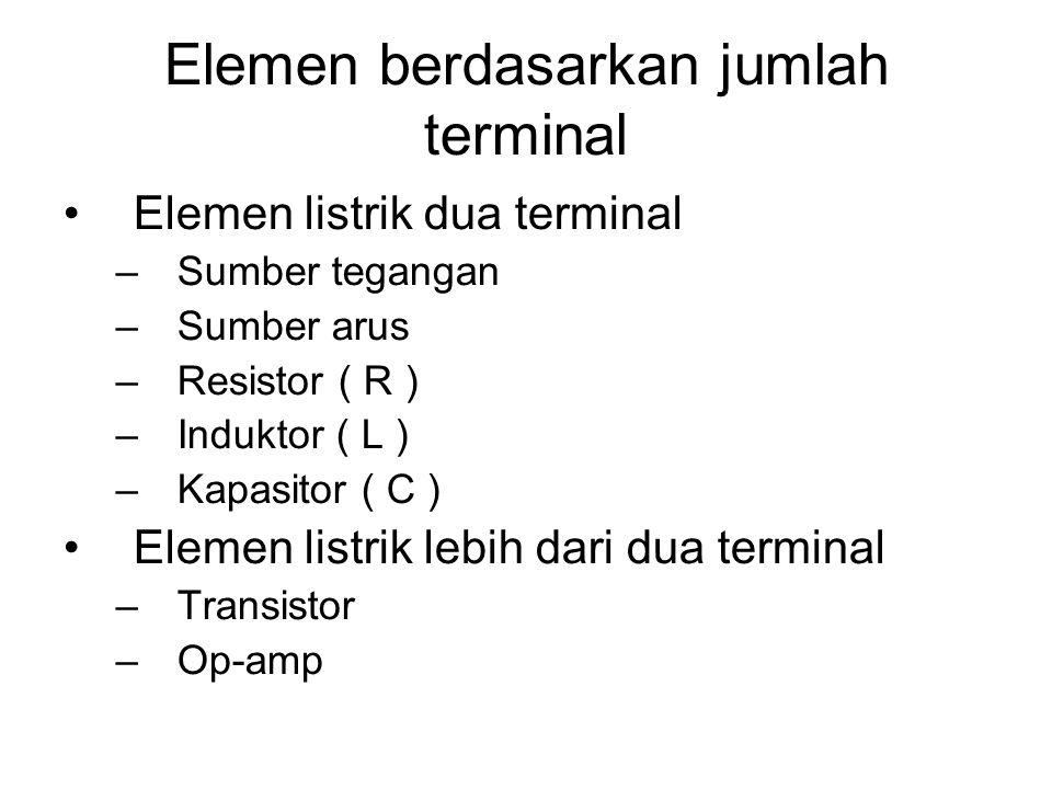 Elemen Elemen aktif  elemen yang menghasilkan energi (sumber tegangan dan sumber arus) Elemen pasif  tidak dapat menghasilkan energi (R, L, C) R  m