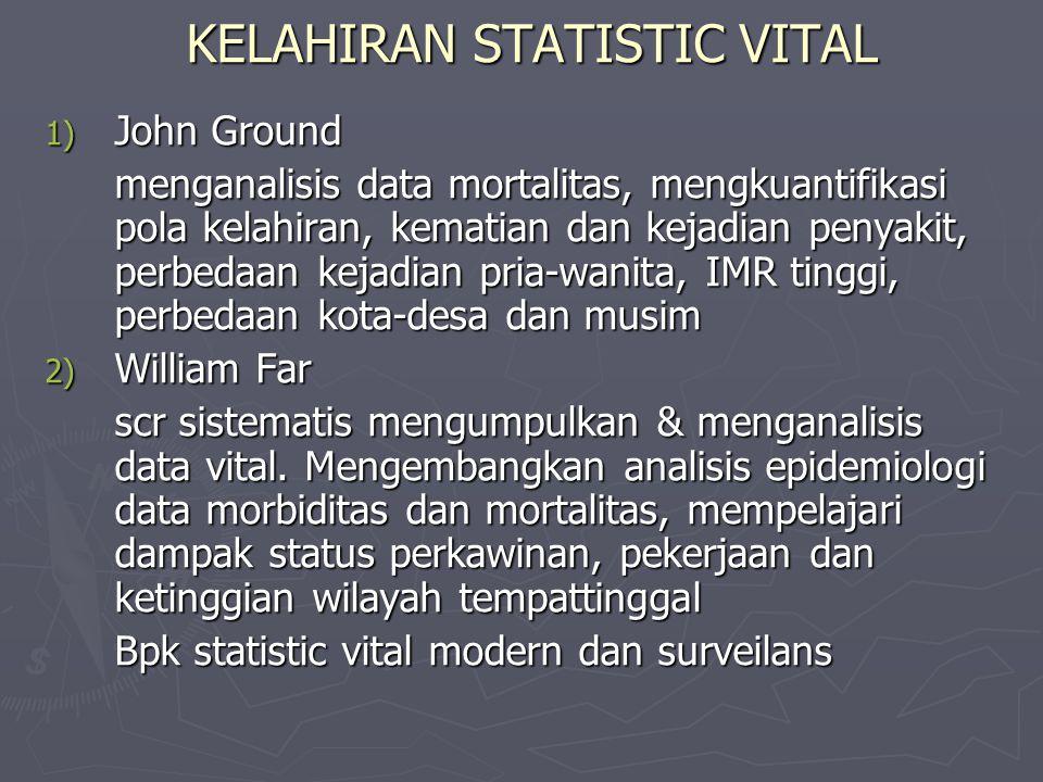 KELAHIRAN STATISTIC VITAL 1) John Ground menganalisis data mortalitas, mengkuantifikasi pola kelahiran, kematian dan kejadian penyakit, perbedaan kejadian pria-wanita, IMR tinggi, perbedaan kota-desa dan musim 2) William Far scr sistematis mengumpulkan & menganalisis data vital.