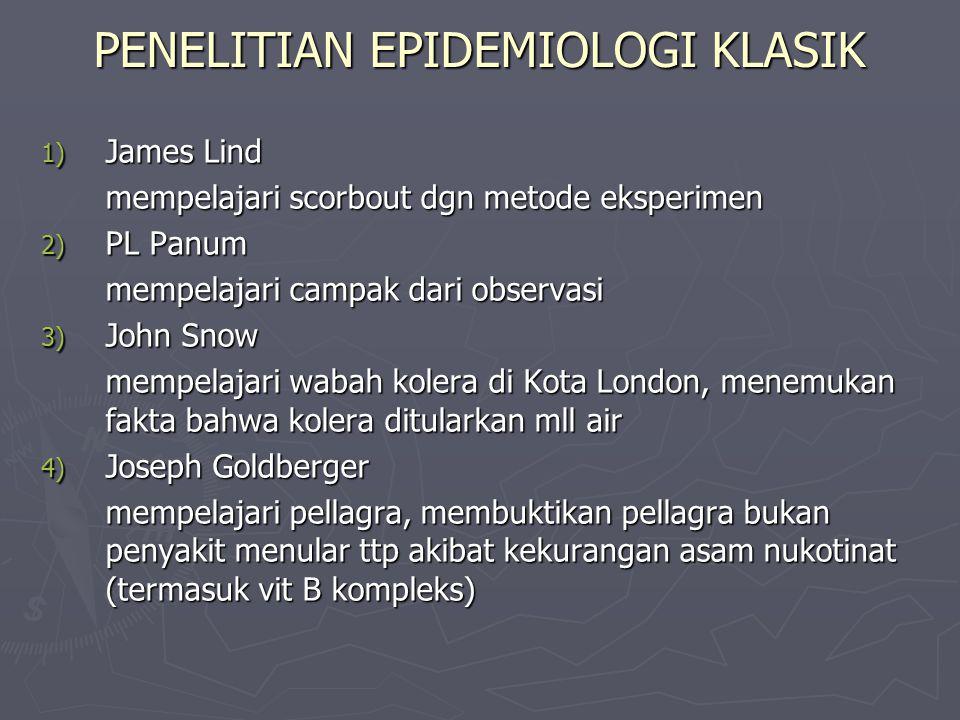 PENELITIAN EPIDEMIOLOGI KLASIK 1) James Lind mempelajari scorbout dgn metode eksperimen 2) PL Panum mempelajari campak dari observasi 3) John Snow mempelajari wabah kolera di Kota London, menemukan fakta bahwa kolera ditularkan mll air 4) Joseph Goldberger mempelajari pellagra, membuktikan pellagra bukan penyakit menular ttp akibat kekurangan asam nukotinat (termasuk vit B kompleks)