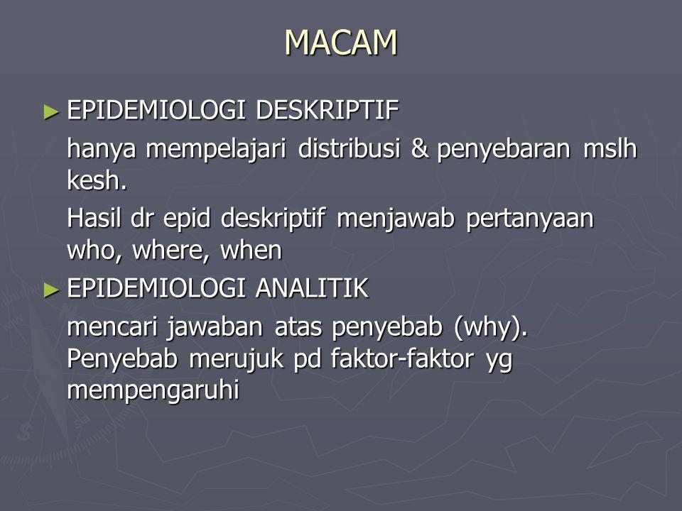 MACAM ► EPIDEMIOLOGI DESKRIPTIF hanya mempelajari distribusi & penyebaran mslh kesh.