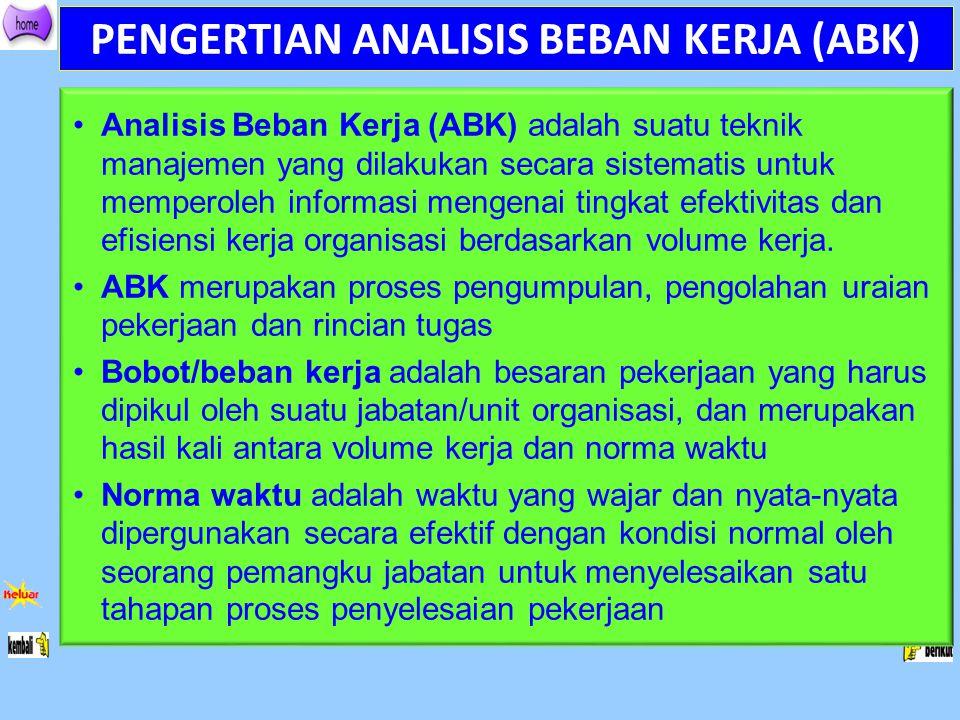PENGERTIAN ANALISIS BEBAN KERJA (ABK) Analisis Beban Kerja (ABK) adalah suatu teknik manajemen yang dilakukan secara sistematis untuk memperoleh infor