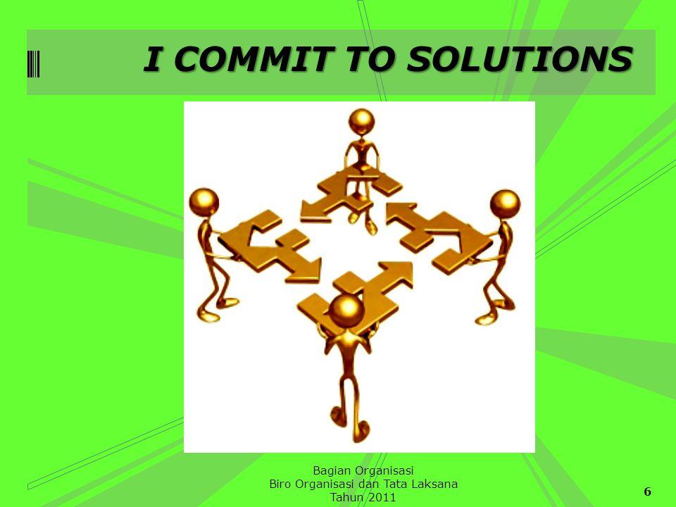 I COMMIT TO SOLUTIONS 6 Bagian Organisasi Biro Organisasi dan Tata Laksana Tahun 2011