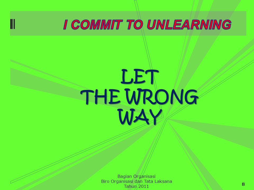 8 Bagian Organisasi Biro Organisasi dan Tata Laksana Tahun 2011 LET THE WRONG WAY