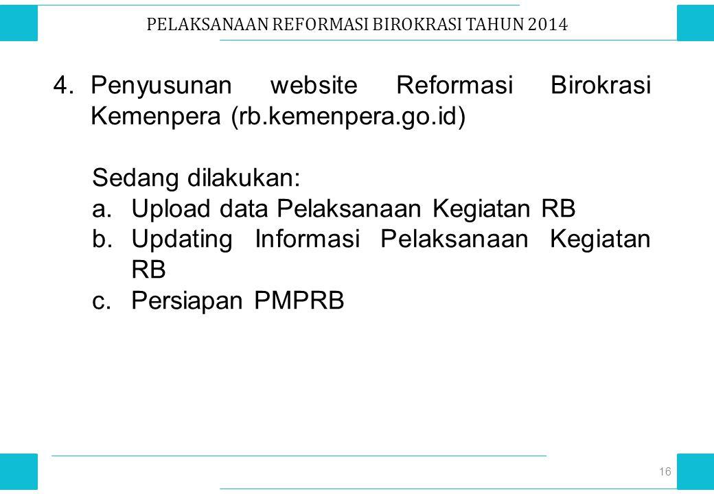 PELAKSANAAN REFORMASI BIROKRASI TAHUN 2014 16 4.Penyusunan website Reformasi Birokrasi Kemenpera (rb.kemenpera.go.id) Sedang dilakukan: a.Upload data