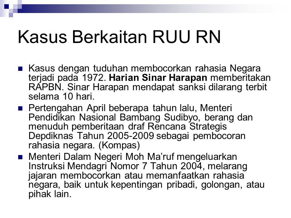 Kasus Berkaitan RUU RN Kasus dengan tuduhan membocorkan rahasia Negara terjadi pada 1972.