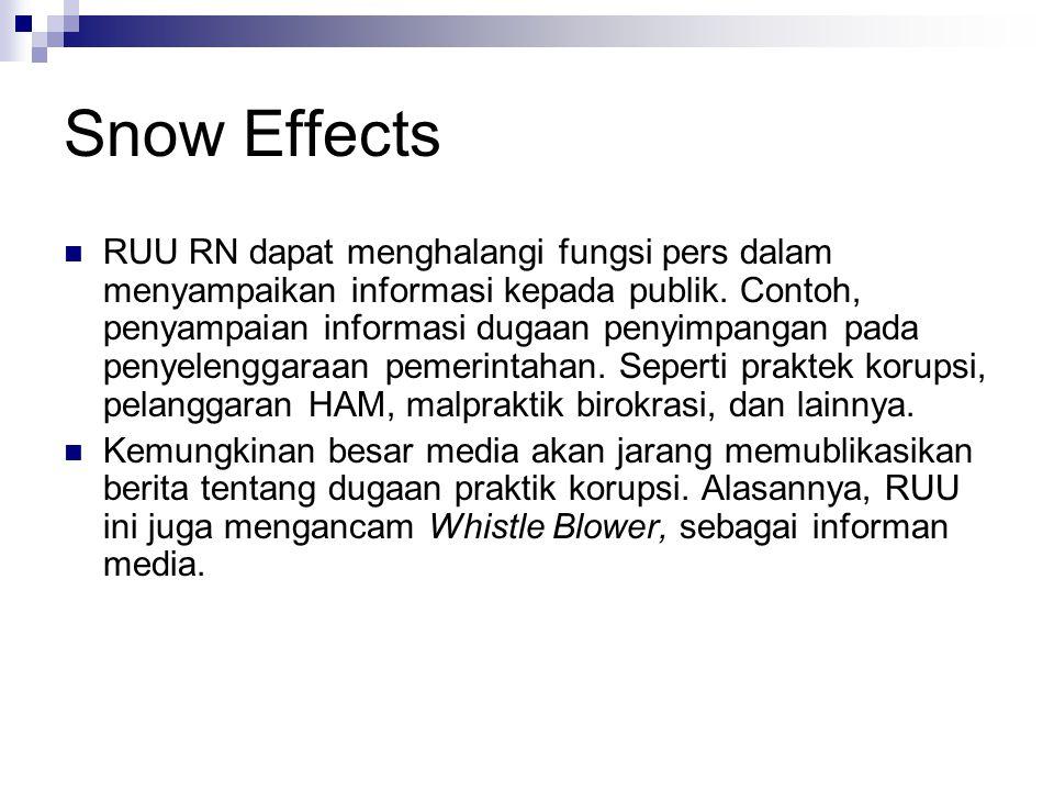 Snow Effects RUU RN dapat menghalangi fungsi pers dalam menyampaikan informasi kepada publik.