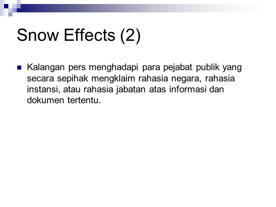 Snow Effects (2) Kalangan pers menghadapi para pejabat publik yang secara sepihak mengklaim rahasia negara, rahasia instansi, atau rahasia jabatan atas informasi dan dokumen tertentu.