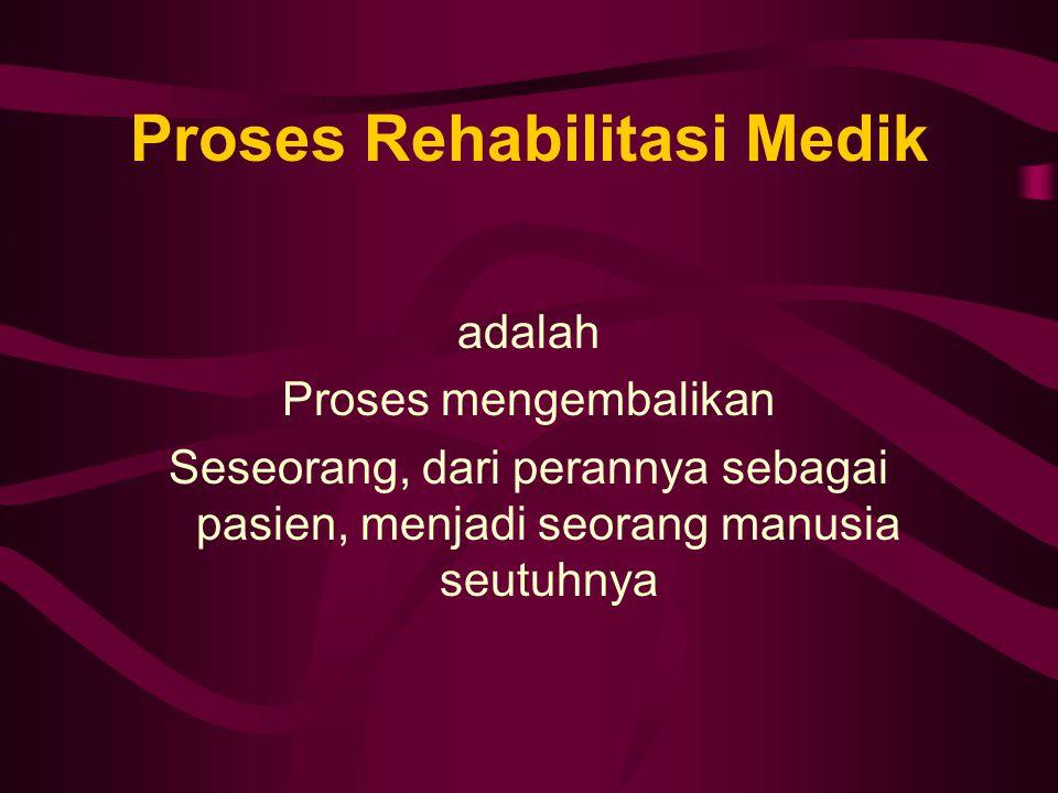 Proses Rehabilitasi Medik adalah Proses mengembalikan Seseorang, dari perannya sebagai pasien, menjadi seorang manusia seutuhnya