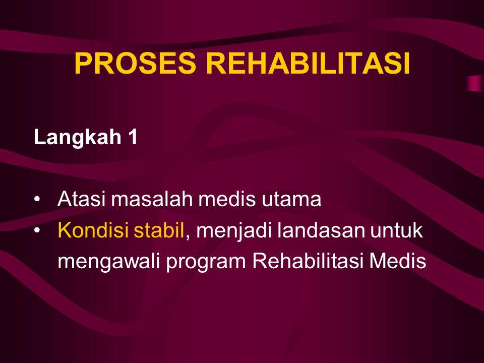 PROSES REHABILITASI Langkah 1 Atasi masalah medis utama Kondisi stabil, menjadi landasan untuk mengawali program Rehabilitasi Medis