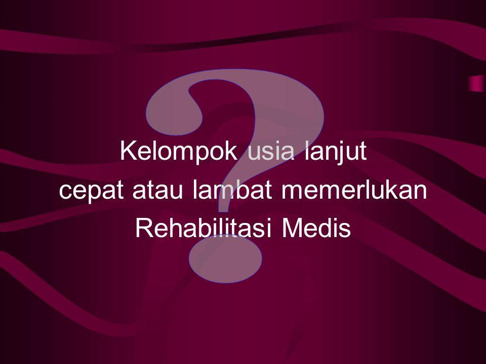 FALSAFAH & TUJUAN REHABILITASI MEDIK Falsafah rehabilitasi medik ialah meningkatkan kemampuan fungsional seseorang sesuai dengan potensi yang dimiliki untuk mempertahankan dan atau meningkatkan Kualitas hidup dengan cara mencegah atau mengurangi Impairment, Disability dan handicap semaksimal mungkin