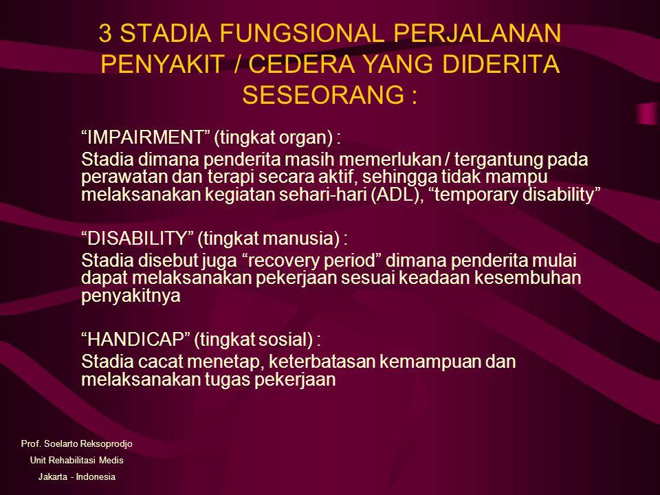 """3 STADIA FUNGSIONAL PERJALANAN PENYAKIT / CEDERA YANG DIDERITA SESEORANG : """"IMPAIRMENT"""" (tingkat organ) : Stadia dimana penderita masih memerlukan / t"""