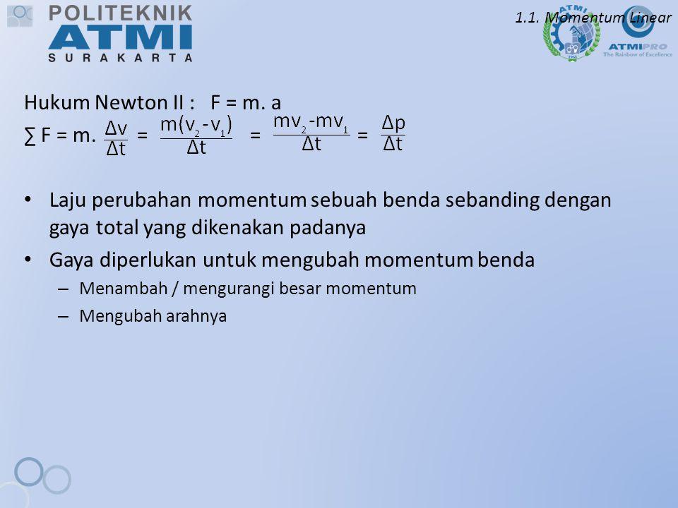 1.1. Momentum Linear Hukum Newton II : F = m. a ∑ F = m. = = = Laju perubahan momentum sebuah benda sebanding dengan gaya total yang dikenakan padanya