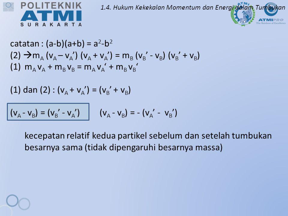 1.4. Hukum Kekekalan Momentum dan Energi dalam Tumbukan catatan : (a-b)(a+b) = a 2 -b 2 (2)  m A (v A – v A ') (v A + v A ') = m B (v B ' - v B ) (v