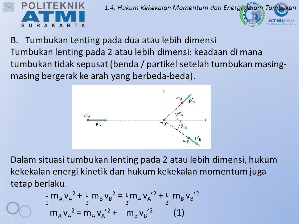 1.4. Hukum Kekekalan Momentum dan Energi dalam Tumbukan B.Tumbukan Lenting pada dua atau lebih dimensi Tumbukan lenting pada 2 atau lebih dimensi: kea