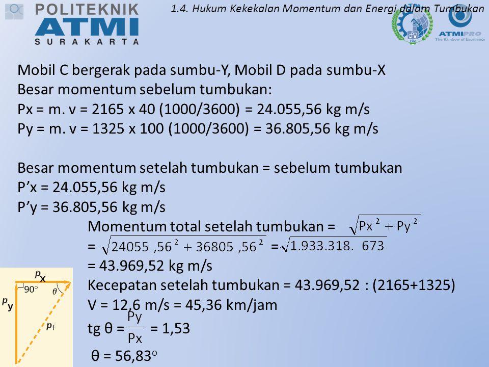 1.4. Hukum Kekekalan Momentum dan Energi dalam Tumbukan Mobil C bergerak pada sumbu-Y, Mobil D pada sumbu-X Besar momentum sebelum tumbukan: Px = m. v