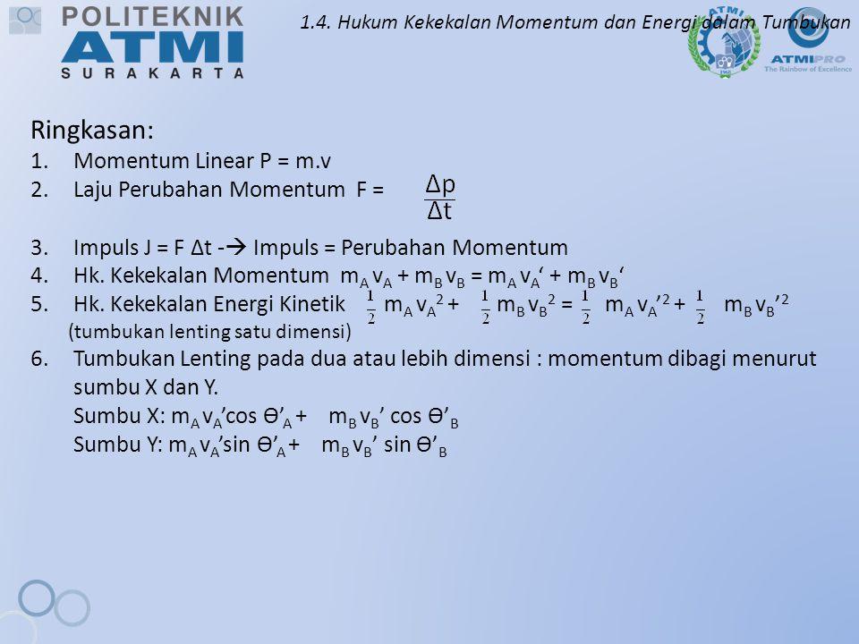 1.4. Hukum Kekekalan Momentum dan Energi dalam Tumbukan Ringkasan: 1.Momentum Linear P = m.v 2.Laju Perubahan Momentum F = 3.Impuls J = F ∆t -  Impul