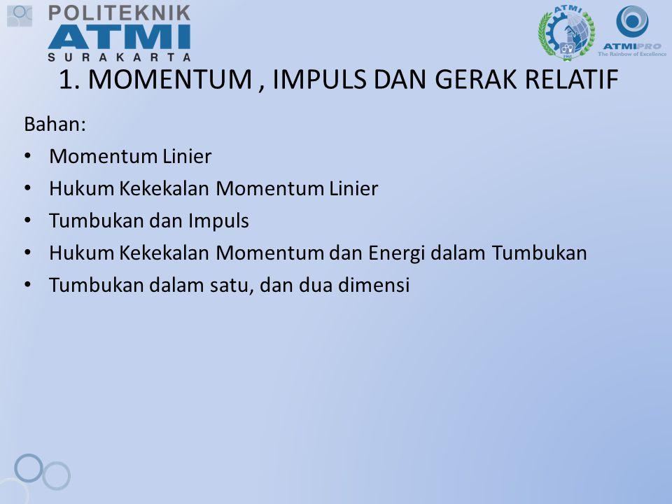 1.1.Momentum Linear Momentum Linear (Momentum) : Hasil kali massa benda dengan kecepatannya.
