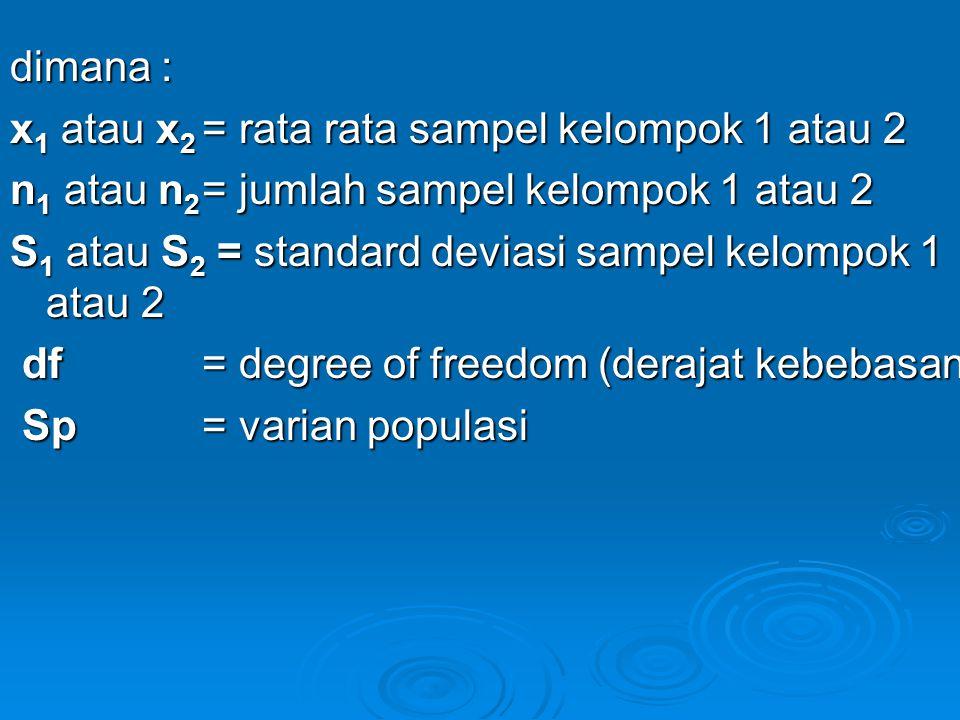 dimana : x 1 atau x 2 = rata rata sampel kelompok 1 atau 2 n 1 atau n 2 = jumlah sampel kelompok 1 atau 2 S 1 atau S 2 = standard deviasi sampel kelom