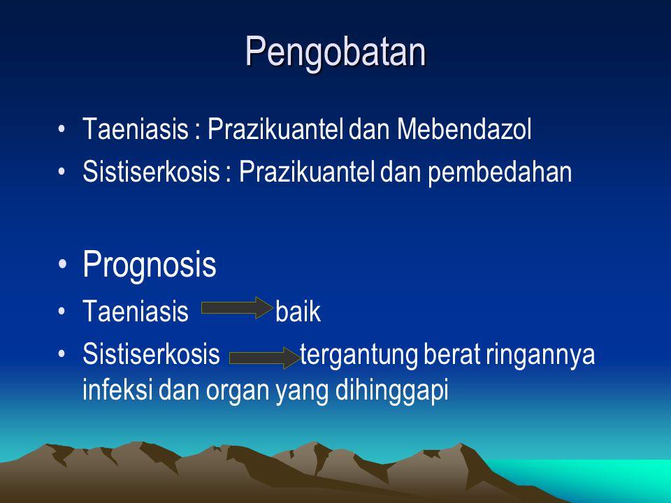 Pengobatan Taeniasis : Prazikuantel dan Mebendazol Sistiserkosis : Prazikuantel dan pembedahan Prognosis Taeniasis baik Sistiserkosis tergantung berat