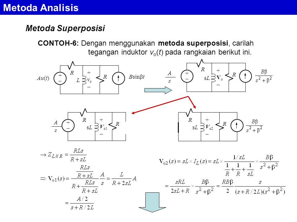 Metoda Analisis Metoda Superposisi CONTOH-6: Dengan menggunakan metoda superposisi, carilah tegangan induktor v o (t) pada rangkaian berikut ini.