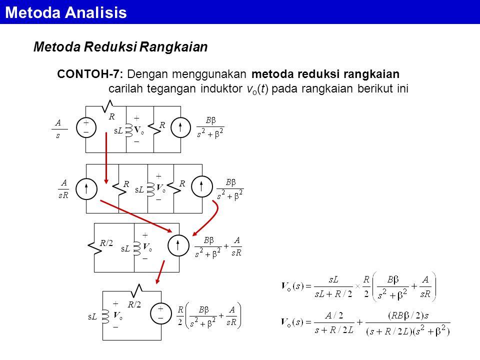 Metoda Reduksi Rangkaian Metoda Analisis CONTOH-7: Dengan menggunakan metoda reduksi rangkaian carilah tegangan induktor v o (t) pada rangkaian berikut ini ++ R sLsL +Vo+Vo R R sLsL +Vo+Vo R R/2 sLsL +Vo+Vo sLsL +Vo+Vo ++