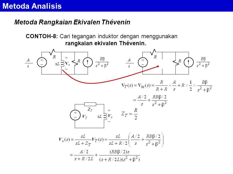 Metoda Rangkaian Ekivalen Thévenin Metoda Analisis CONTOH-8: Cari tegangan induktor dengan menggunakan rangkaian ekivalen Thévenin.