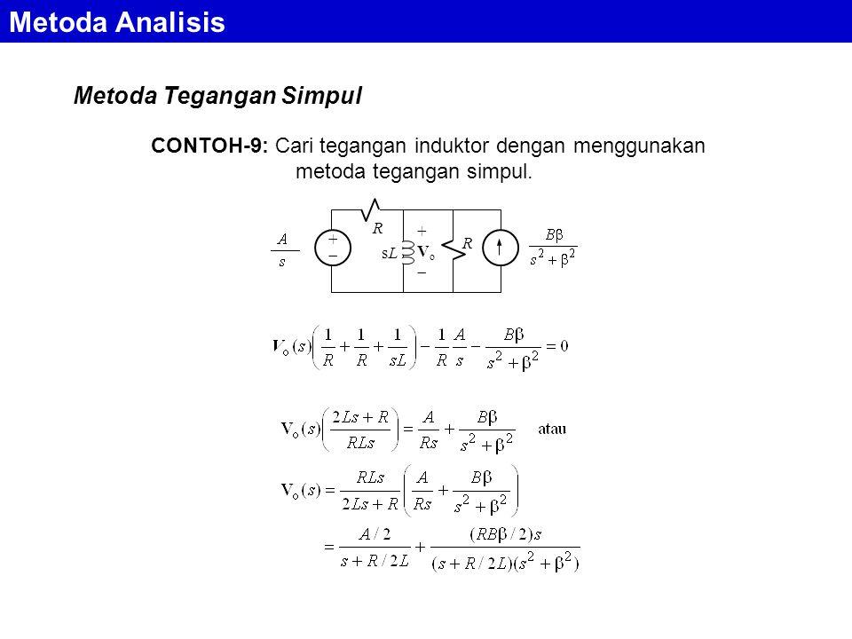 Metoda Analisis Metoda Tegangan Simpul ++ R sLsL +Vo+Vo R CONTOH-9: Cari tegangan induktor dengan menggunakan metoda tegangan simpul.