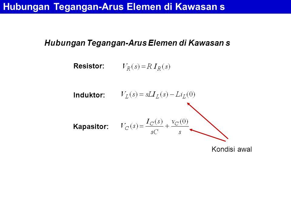 Hubungan Tegangan-Arus Elemen di Kawasan s Resistor: Induktor: Kapasitor: Hubungan Tegangan-Arus Elemen di Kawasan s Kondisi awal
