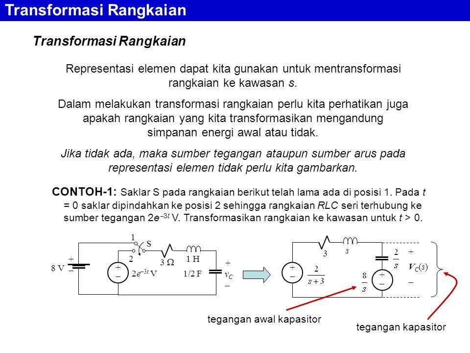 Transformasi Rangkaian Representasi elemen dapat kita gunakan untuk mentransformasi rangkaian ke kawasan s.