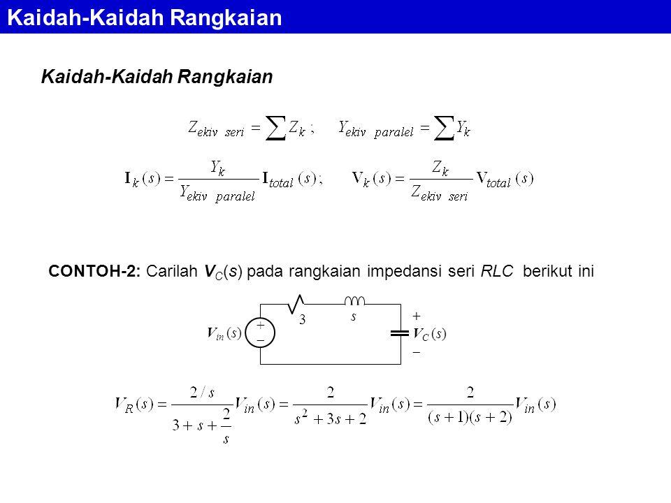 Kaidah-Kaidah Rangkaian CONTOH-2: Carilah V C (s) pada rangkaian impedansi seri RLC berikut ini s 3 ++ + V C (s)  V in (s)
