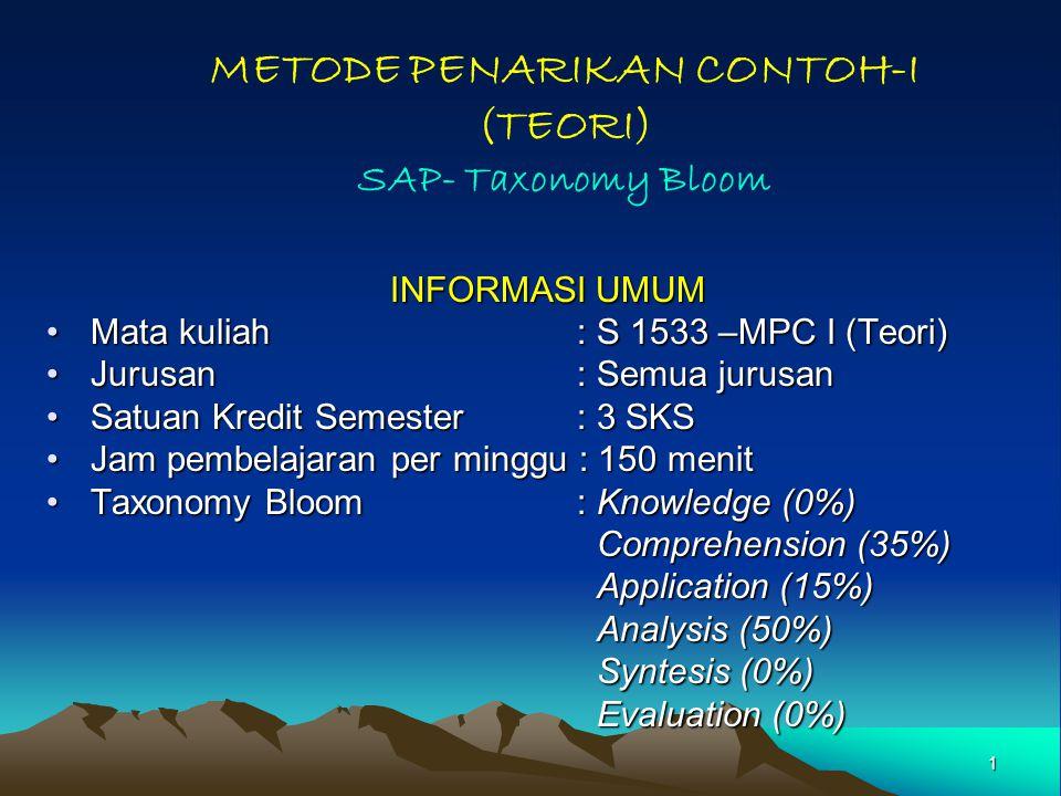 1 METODE PENARIKAN CONTOH-I (TEORI) SAP- Taxonomy Bloom INFORMASI UMUM Mata kuliah: S 1533 –MPC I (Teori)Mata kuliah: S 1533 –MPC I (Teori) Jurusan: Semua jurusanJurusan: Semua jurusan Satuan Kredit Semester : 3 SKSSatuan Kredit Semester : 3 SKS Jam pembelajaran per minggu : 150 menitJam pembelajaran per minggu : 150 menit Taxonomy Bloom: Knowledge (0%)Taxonomy Bloom: Knowledge (0%) Comprehension (35%) Comprehension (35%) Application (15%) Application (15%) Analysis (50%) Analysis (50%) Syntesis (0%) Syntesis (0%) Evaluation (0%) Evaluation (0%)