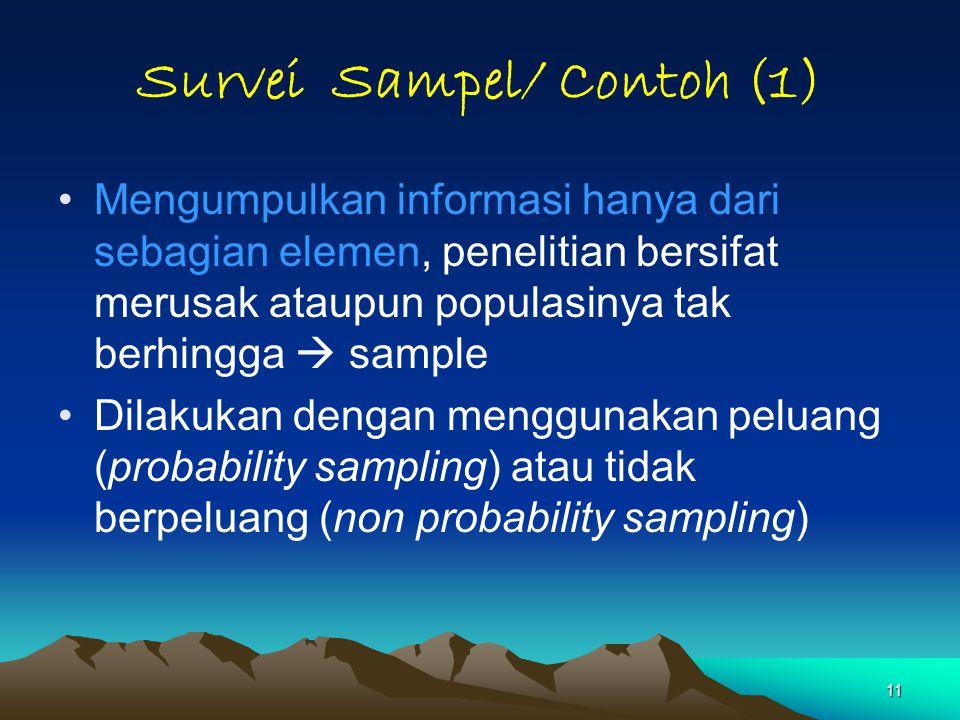 11 Survei Sampel/ Contoh (1) Mengumpulkan informasi hanya dari sebagian elemen, penelitian bersifat merusak ataupun populasinya tak berhingga  sample Dilakukan dengan menggunakan peluang (probability sampling) atau tidak berpeluang (non probability sampling)