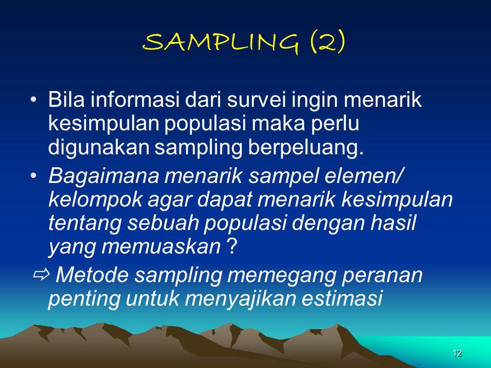 12 SAMPLING (2) Bila informasi dari survei ingin menarik kesimpulan populasi maka perlu digunakan sampling berpeluang. Bagaimana menarik sampel elemen