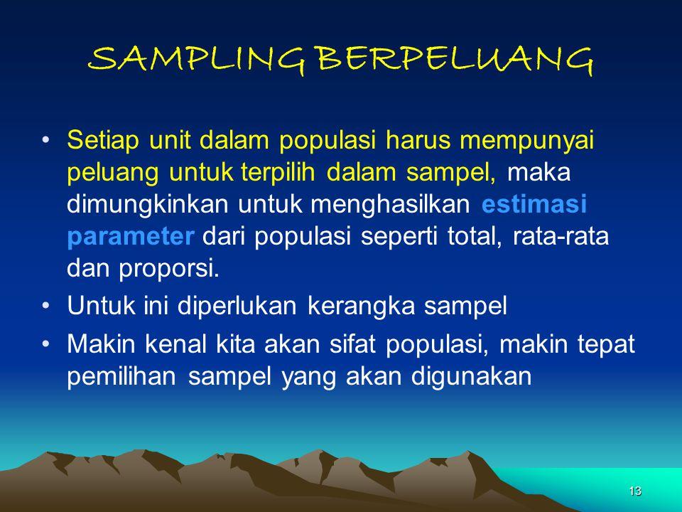 13 SAMPLING BERPELUANG Setiap unit dalam populasi harus mempunyai peluang untuk terpilih dalam sampel, maka dimungkinkan untuk menghasilkan estimasi parameter dari populasi seperti total, rata-rata dan proporsi.