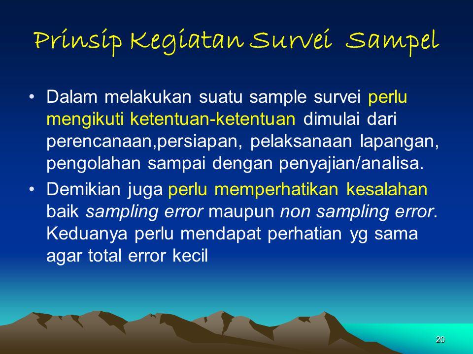 20 Prinsip Kegiatan Survei Sampel Dalam melakukan suatu sample survei perlu mengikuti ketentuan-ketentuan dimulai dari perencanaan,persiapan, pelaksanaan lapangan, pengolahan sampai dengan penyajian/analisa.